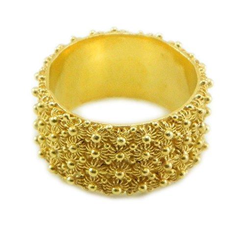 Anello in argento dorato 925 fede filigrana tipo sarda lavorazione nido ape 4 file (20)