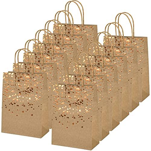 AvoDovA 12 Stück Papiertüten aus Kraftpapier, Papiertüten mit Henkel, Kraftpapier Geschenktüten, Bronzing Kraft Tasche mit Gold Herz, Braune Party Papiertüten für Hochzeit Geburtstag Party Einkaufen