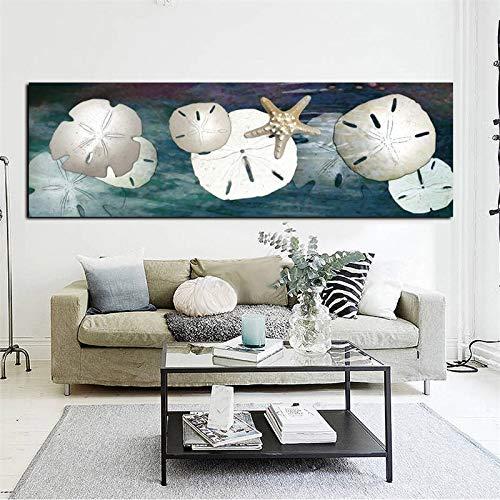 ganlanshu Rahmenlose Malerei Leinwand Kunst abstrakte Stillleben Seestern Sand Geld Poster und drucken Moderne Landschaft WandbildCGQ7294 52X157cm