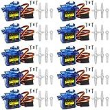 Miuzei SG90 9G Micro Servo Motor para RC Robot Arm/Mano/Marcha, Helicóptero, Coche Modelo de vehículo Control con cable, Mini Micro Arduino Motor Servos Maqueta (10 x Azul)