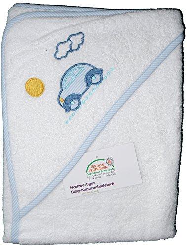 Baby Kapuzen Badetuch 100 x 100 cm, bestickt, Frottier, 100% Baumwolle, ÖKOTEX (Little-Car-weiss)