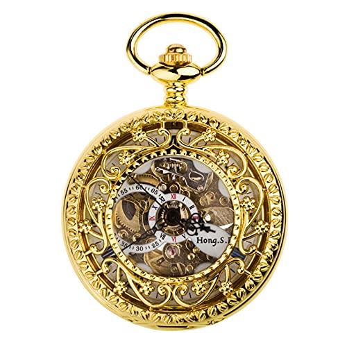 XGJJ Reloj de Bolsillo clásico con chainmens Regalos para Mujer. Aleación de Metal Números Romanos Romanos de Bolsillo mecánico Regalos, D