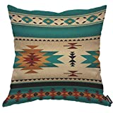 AOYEGO Tribal Navajo Pattern Throw Pillow Cover Southwest Ethnic Culture Geometric Collage Triangle Pillow Case 18x18 Inch Decorative Men Women Boy Girl Room Cushion Cover for Home Couch Bed