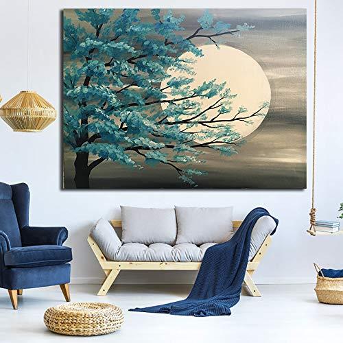 wopiaol Kein Rahmen Mond Landschaft Ölgemälde Baum Landschaft Leinwand Malerei Bilder Poster und Drucke Home Decoration Cuadros für Wohnzimmer