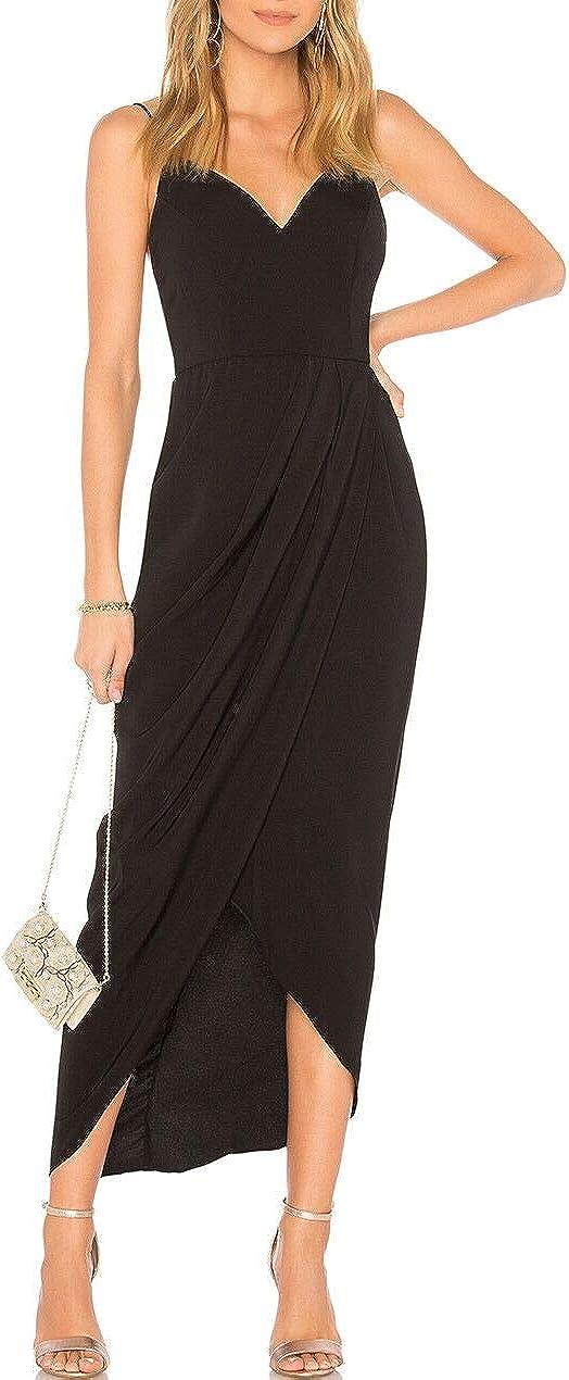 JLCNCUE Womens Backless Sexy V Neck Backless Maxi Dress Sleeveless Spaghetti Straps Party Dresses 729