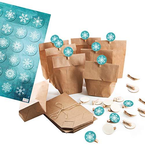 Logboek-uitgeverij kleine papieren zakken verpakking kerstmis + houten klemmen + sticker sneeuwvlok natuurlijke zakken herbruikbaar 24 Stück blauw-turquoise.