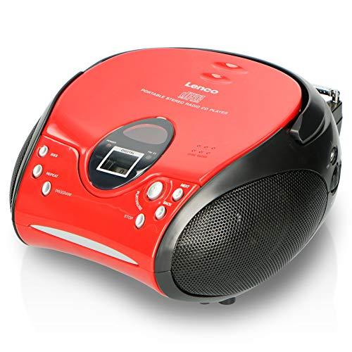 Lenco SCD24 - CD-Player für Kinder - CD-Radio - Stereoanlage - Boombox - UKW Radiotuner - Titel Speicher - 2 x 1,5 W RMS-Leistung - Netz- und Batteriebetrieb - Rot