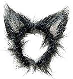 shoperama Accesorios para disfraz de orejas o cola flexible para disfraz de lobo, color gris, variante: orejas