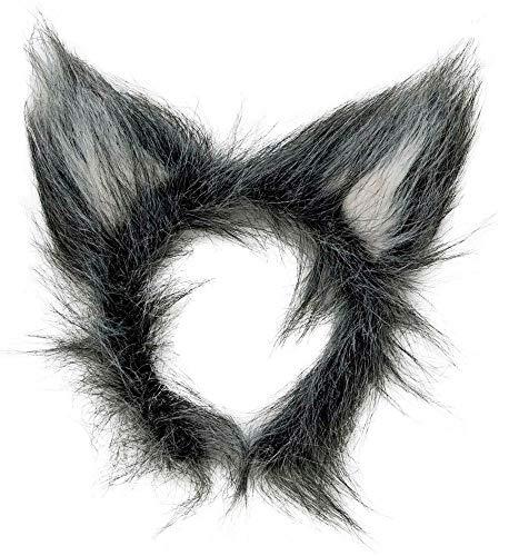 shoperama Kostüm-Zubehör Ohren oder biegsamer Schwanz für Wolf Kostüm Grau Fell, Variante:Ohren