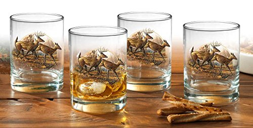 Autumn Run - Whitetail Deer Double Old Fashioned Glasses by Terry Redlin