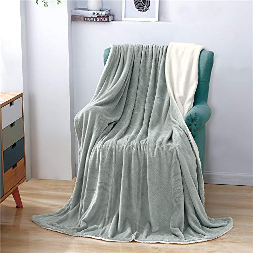 "YC Sherpa Fleece Blanket Throw Flannel Twin Size 60""x80"" Emboss Throw Blanket for Bed Soft Plush Blanket for Sofa - Light Gray"