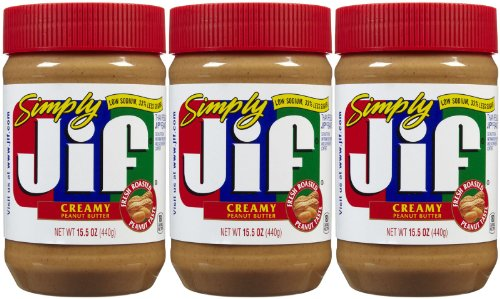 Jif Simply Creamy Peanut Butter, 15.5 oz, 3 Pack