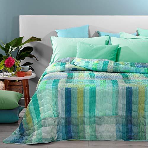 Caleffi Marlin 81657 Tagesdecke für französisches Bett, Blau aus Mikrofaser