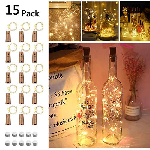 15 x 20 LED Flaschenlicht, Opard Flaschen-Licht Lichterkette Kork Flaschen LED Nacht Licht Weinflasche Hochzeit Party romantische Deko (Warme Weiß)