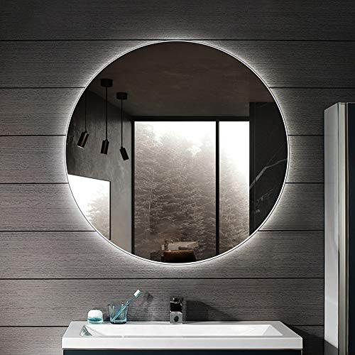 Bathroom Mirror Led Illuminated Round Lighted Vanity Makeup Wall Mounted Lights Cosmetic
