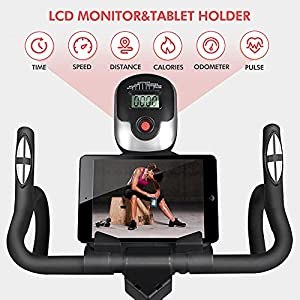 pooboo Indoor Cycling Bike Stationary - Exercise Bike with Comfortable Seat Cushion, iPad Holder & LCD Monitor - Belt Drive Cycle Bikes for Home Gym Cardio Workout