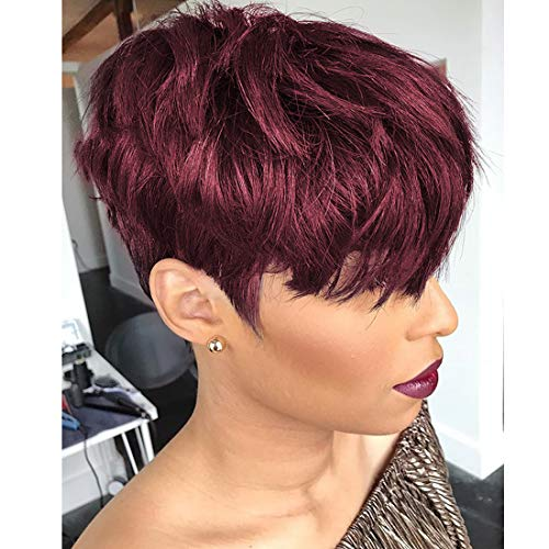 Yviann Pixie Cut Human Hair Wigs with Bangs Ombre red Color Wigs Cute Brazilian Short Black and Burgundy Layered Wavy Wigs for Women 1B/99j Color