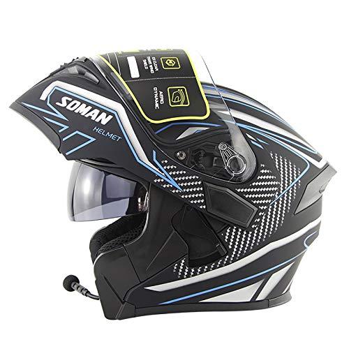 YHNMK Casco De Motocicleta De Carreras Casco De Motocicleta Bluetooth Modular Casco Silencioso para Hombres Y Mujeres Motocicletas De Carreras Todoterreno para Adultos