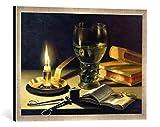 Gerahmtes Bild von Pieter Claesz. Stilleben mit brennender