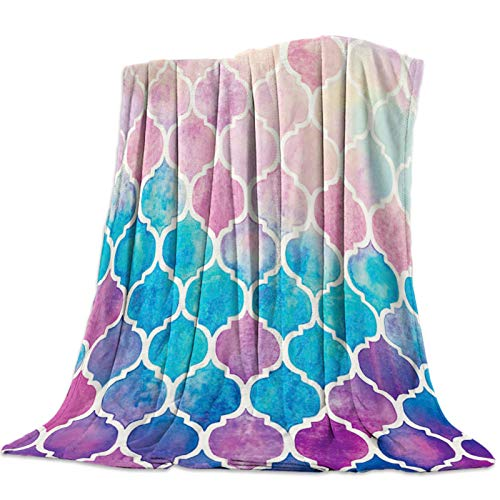 Cllym Color Marruecos cheques geométricos Manta de Tiro Manta de Microfibra cálida Mantas de Dibujos Animados para Camas decoración del hogar