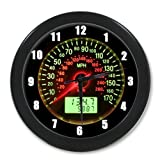 9.65' Silent Quartz Decorative Wall Clock Non-Ticking Car Speedometer Classic Digital Clock Battery Operated Round Easy to Read Home/Office/School Clock (Black)