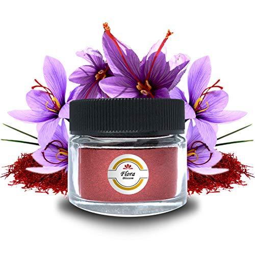 Flora Blossom Safran Pulver - Höchste Qualitätsstufe - Safran Gemahlen Natürlich Ohne Zusätze - Spitzenkategorie 1 - Saffron Azafran Gewürze für Safran Tee - Exquisite Qualität (1.0 GR)