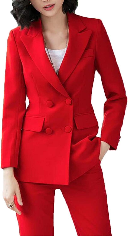 XiaoTianXinWomen XTX Womens Notch Lapel Slim Fit 2 Pcs DoubleBreasted Blazer Jacket Suit Coat