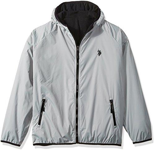 U.S. Polo Assn. Men's Reversible Poly Shell to Fleece Hooded Jacket, Limestone HDLH, 2X