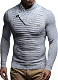Leif Nelson Herren Strick-Pullover Schalkragen Slim Fit Winter Sommer Moderner Männer Pulli Langarm T-Shirt mit Kragen Herren Hoodie-Longsleeve in schwarz LN1535 Ecru-Grau XX-Large