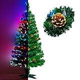 Künstlicher Glasfaser Weihnachtsbaum 150 cm mit LED Beleuchtung und echten