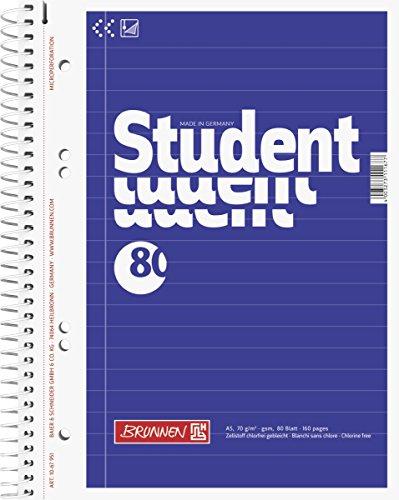 Brunnen 1067951 Notizblock / Collegeblock Student (A5, liniert, 70 g/m², 80 Blatt)