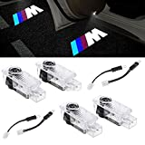 4 X Luz de Puerta de Coche 3D Logo Proyector Láser LED Luces Kit, puerta de coche bienvenido lámpara de luz LED (///M)