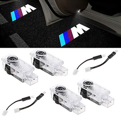 4 X Luz de Puerta de Coche 3D Logo LED Luces Kit Proyector, puerta de coche bienvenido lámpara de luz LED (///M)