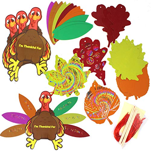JOYIN 40 Pieces of Assorted Thanksgiving Turkey Scratch Off Card DIY Arts and Crafts Magic Color Maple Leaves Scratching Card with Wooden Stylus