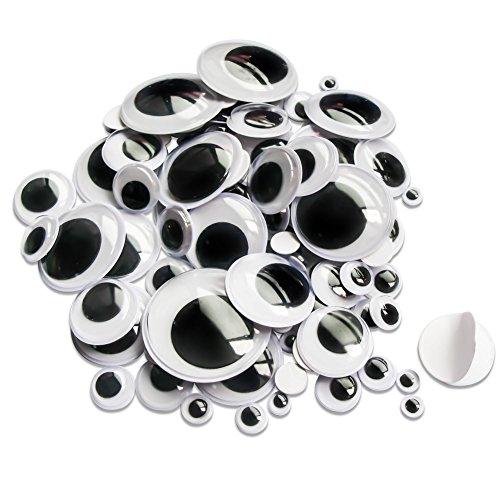 TOAOB 100 Stück Selbstklebend Wackelaugen Runde Schwarz Weiß 6mm bis 35mm Kunststoff Augen für Scrapbooking Kunsthandwerk