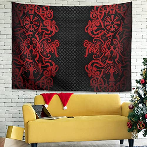 YCNJJB Tapiz Viking Vintage para colgar en la pared, mantas de playa vikingo, para sala de estar, color blanco, 40 x 59 pulgadas