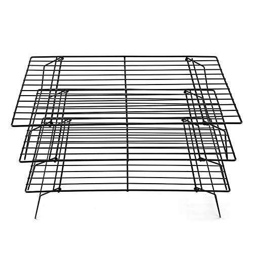 Shellkingdom Cooling Racks, Stainless Steel Non-Stick Baking Racks And Oven Safe Wire Cool Racks for Cookies, Cakes and Baking,3-Tier,Foldable