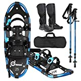 Odoland 4-in-1 Snowshoes Snow Shoes for Men and Women with Trekking Poles, Carrying Tote Bag and Waterproof Snow Leg Gaiters, Lightweight Aluminum Alloy Snow Shoes, Size 21''/25''/30'',Medium