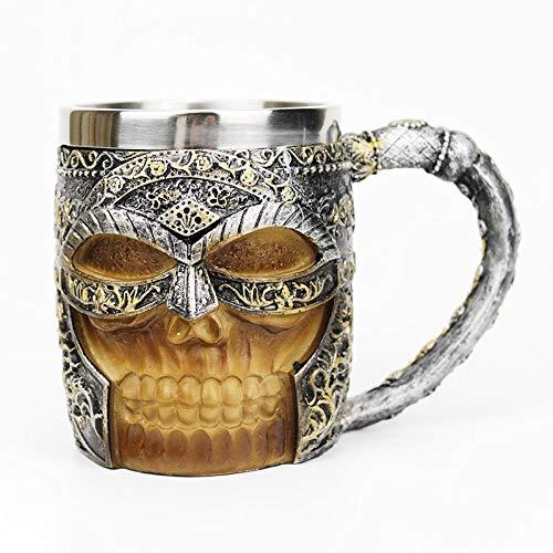 ZWRY Copas De Vino Taza de Calavera de Caballero 3D para café Jarra de Cerveza Taza de Calavera de Pirata Vikingo Lobo gótico 16