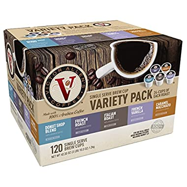 Victor Allen Coffee Variety Pack Cup Single Serve K-cup, 120 Count (Compatible with 2.0 Keurig Brewers), 42.33 Oz