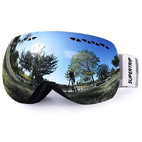 Supertrip Skibrille Damen Herren Snowboardbrille Schneebrille Verspiegelt Ski-Schutzbrillen Schneebrille 100% UV400 Schutz für Brillenträger Antifog Skifahren Snowboarden (Spiegel Silber(9.75%))