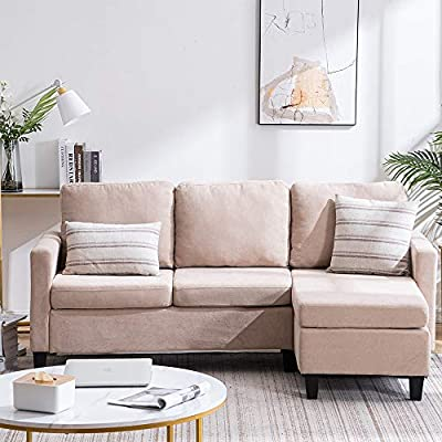 Bonnlo Convertible Sectional Sofa L Shaped Sectional Couch Small 3-Seater Sectional Sofas,Modern Living Room Sectional Sofa Couch with Reversible Chaise