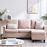 Bonnlo Convertible Sectional Sofa L Shaped Sectional Couch Small 3-Seater Sectional Sofas,Modern Living Room Sectional Sofa Couch with Reversible Chaise (Beige)