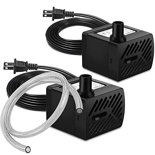 PULACO 2Pcs Mini Fountain Pump, Ultra Quiet Submersible Water Pump ( 50GPH 3W) for Aquarium Fish Tank, Pet Water Fountain, Tabletop Fountains, Water gardens and Hydroponic Systems