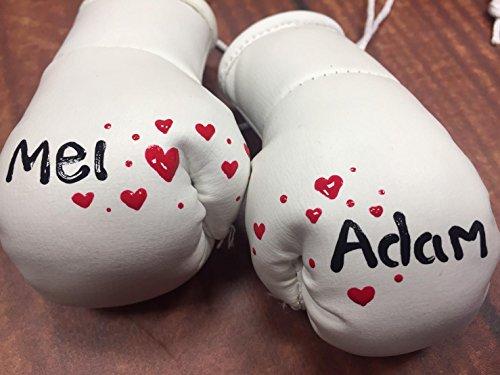 Mini-Boxhandschuhe für Hochzeiten, weiß oder silber, bemalt mit Namen Ihrer Wahl