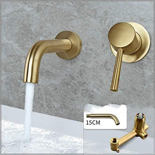 Vollkupfer in die Wand heißes und kaltes Wasser Ziehen Gold 15cm nicht-rotierendem Mund Ein-Körper-Körper,Hohe Auslaufhöhe - Wasserhahn fürs Bad/Waschbecken-Armatur/Badarmatur