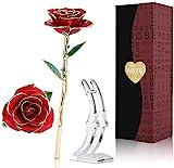 Tokmali 24k Rosa Placcato Oro,Rosa Eterna Stabilizzata con Supporto Rosa Artificiale Fiore Romantico Perfetto Regalo per Confezione Fidanzata, San Valentino,Fsta della Mamma,Anniversario,Matrimonio