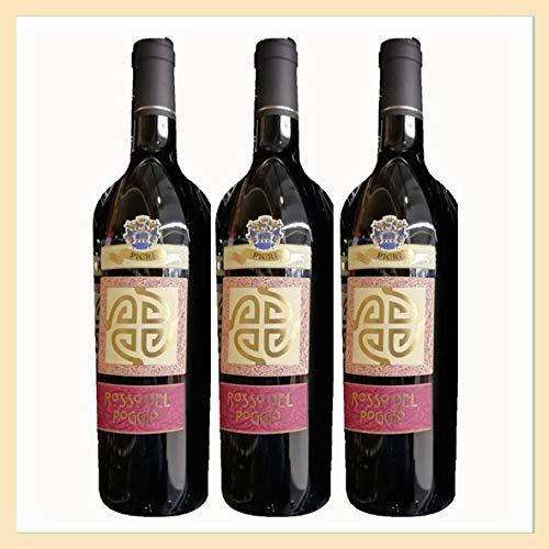 3x Vino Rosso Conero'del Poggio' doc, bottiglia 0,75 lt, Cantina Pieri, località Poggio, Ancona, prodotto tipico marchigiano, Italy
