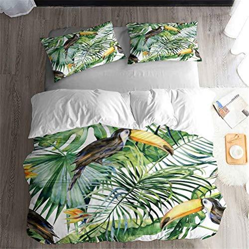LanS Palm leaf tropical fruit duvet cover bedding Set, duvet cover and pillowcase, 3 Piece Set bedding (duvet cover + 2 pillowcases) Single Double Duvet cover (A,Single-135x210cm)