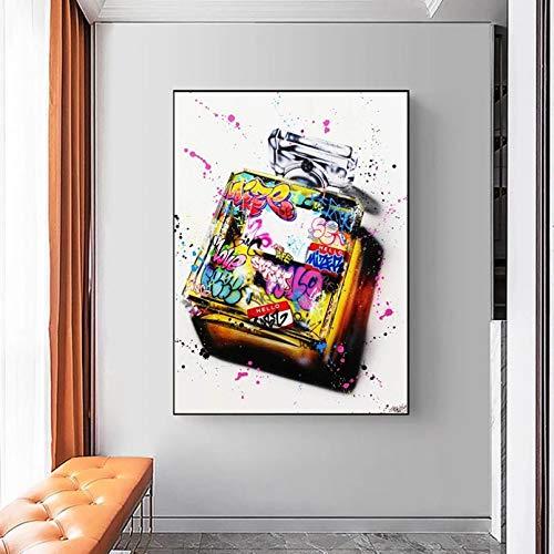 N\A Cuadros Decorativos Pinturas Decorativas Graffiti Art Perfume Bottle Fashion Canvas Painting Posters and PrintWall Art para La Decoración del Hogar De La Sala De Estar (Sin Marco)